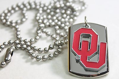 SOLID STAINLESS STEEL 3D TAG OKLAHOMA UNIVERSITY TAG NECKLACE PENDANT
