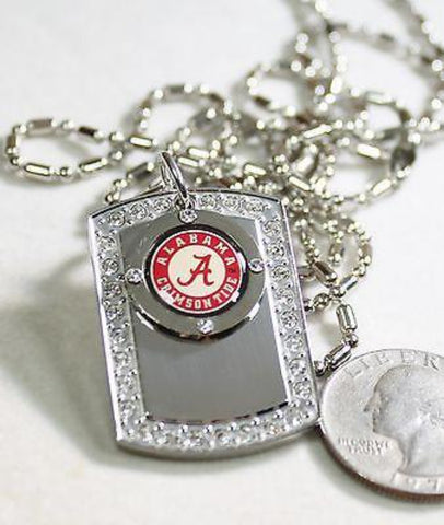 ALABAMA CRIMSON TIDE BLING ICED OUT  NECKLACE PENDANT CZ STAINLESS DOG TAG - Samstagsandmore