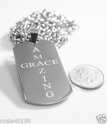 AMAZING GRACE  SOLID THICK  STAINLESS STEEL ROLO CHAIN SHINE CROSS PRAYER NECKLACE - Samstagsandmore
