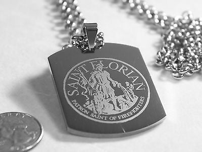 SAINT FLORIAN IMAGE FIREMAN SOLID STAINLESS STEEL ENGRAVE NAME DOG TAG NECKLACE - Samstagsandmore