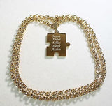 CUSTOM PUZZLE PIECE IPG GOLD SOLID STAINLESS STEEL TOGGLE  CHAIN NECKLACE