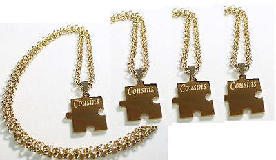 PUZZLE PIECE X4 IPG THICK GOLD PLATED SOLID STAINLESS STEEL ROLO CHAIN NECKLACE