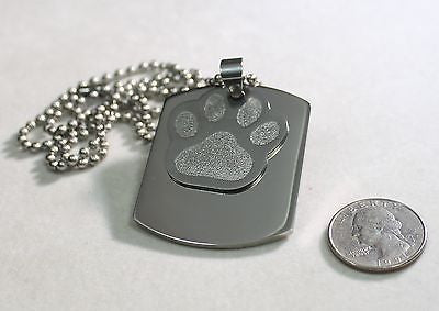 PAW PRINT DOG CAT MEMORIAL PET OR TEAM ENGRAVED X LARGE THICK SOLID STAINLESS