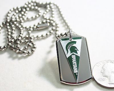 MICHIGAN STATE SPARTANS PENNANT STAINLESS STEEL DOG TAG NECKLACE  3D BALL CHAIN