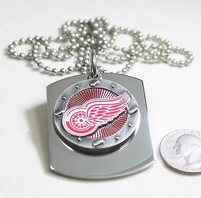 DETROIT RED WINGS  X LARGE  DOG TAG STAINLESS STEEL NECKLACE LOGO - Samstagsandmore