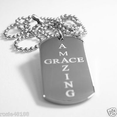 AMAZING GRACE  SOLID THICK STAINLESS STEEL SHINE CROSS PRAYER NECKLACE PENDANT