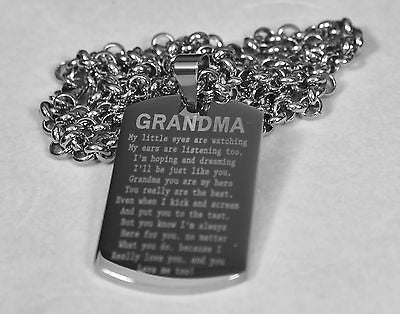 GRANDMA MESSAGE SPECIAL NECKLACE POEM DOG TAG STAINLESS STEEL