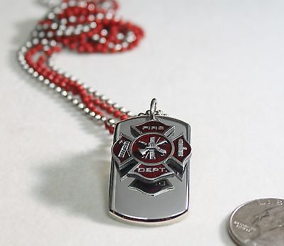 FIRE FIGHTER MALTESE CROSS CHARM 3D SOLID STAINLESS DOG TAG NECKLACE STAINLESS