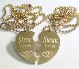 SPLIT HEART STAINLESS STEEL IPG GOLD NECKLACE HEARTS INTERTWINED FREE ENGRAVE