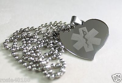 TEAR DROP HEART MEDICAL ALERT  STAINLESS STEEL PENDANT TAG NECKLACE