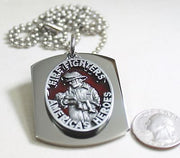 FIRE FIGHTER  PENDANT X LARGE  DOG TAG STAINLESS STEEL NECKLACE LOGO - Samstagsandmore