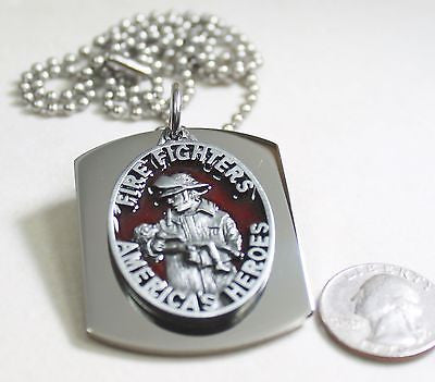 FIRE FIGHTER  PENDANT X LARGE  DOG TAG STAINLESS STEEL NECKLACE LOGO