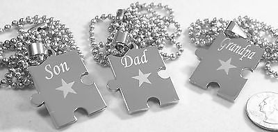 PUZZLE PIECE NECKLACE DAD SON GRANDPA SOLID STAINLESS STEEL BALL CHAIN NECKLACE