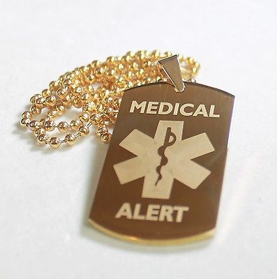 MEDICAL ALERT STAINLESS STEEL STYLE IPG DOG TAGS FREE ENGRAVING