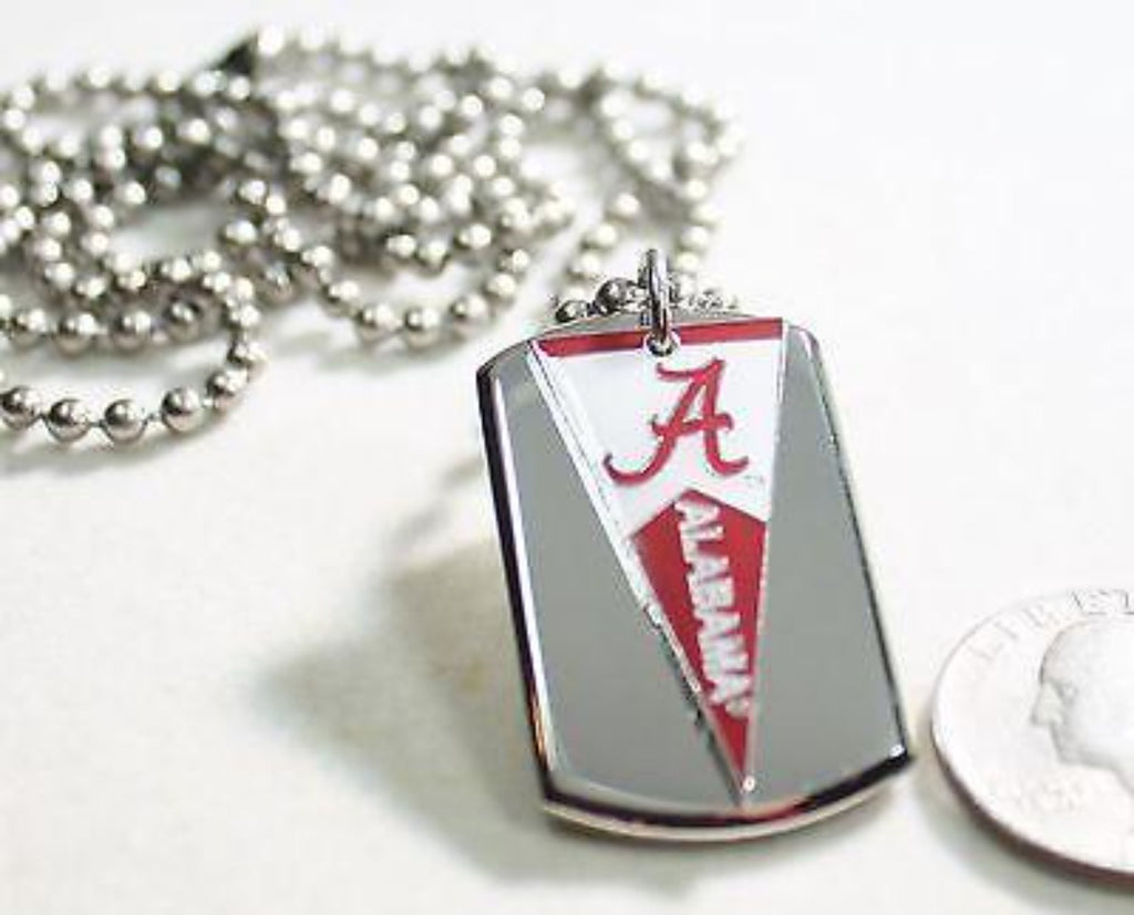 ALABAMA CRIMSON TIDE PENNANT STAINLESS STEEL DOG TAG NECKLACE  3D BALL CHAIN