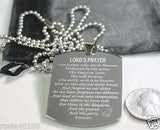 THE LORD'S PRAYER X LARGE THICK SOLID STAINLESS STEEL DOG TAG NECKLACE