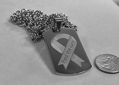 FIND THE CURE BREAST CANCER SOLID THICK STAINLESS STEEL ENGRAVE BACK FREE