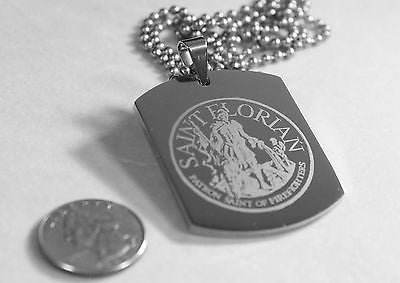 X LARGE SAINT FLORIAN IMAGE FIREMAN MEMORIAL  STAINLESS STEEL DOG TAG NECKLACE