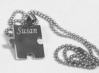 Autism awareness thick puzzle piece solid stainless steel ball chain necklace - Samstagsandmore