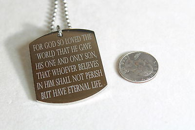 JOHN 3:16 316 LARGE STAINLESS STEEL DOG TAG PENDANT NECKLACE