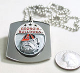 GEORGIA BULLDOGS  X LARGE  DOG TAG STAINLESS STEEL NECKLACE LOGO FREE ENGRAVE - Samstagsandmore