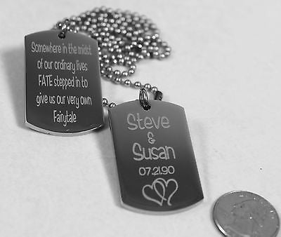 SOLID STAINLESS STEEL LOVE MOTIVATIONAL MILITARY STYLE 2 THICK DOG TAGS NECKLACE