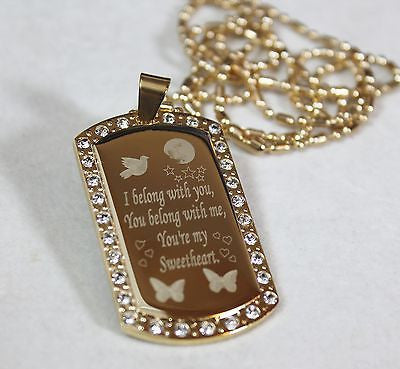GOLD PLATED NECKLACE PENDANT DOG TAG CZ CUSTOM YOUR MESSAGE - Samstagsandmore