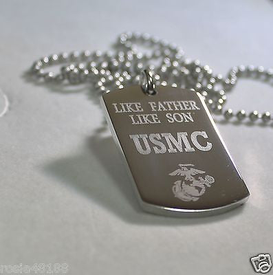 LIKE FATHER LIKE SON MARINE CORE MILITARY THICK STAINLESS STEEL DOG TAG NECKLACE - Samstagsandmore