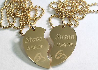 SPLIT HEART WEDDING SET NECKLACE  SET IPG GOLD  STAINLESS STEEL FREE ENGRAVING