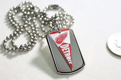 DETROIT RED WINGS NHL PENNANT STAINLESS STEEL DOG TAG NECKLACE  3D BALL CHAIN - Samstagsandmore