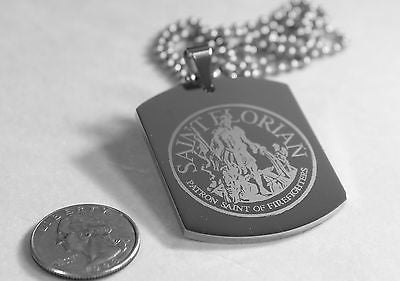X LARGE SAINT FLORIAN IMAGE FIREMAN MEMORIAL  STAINLESS STEEL DOG TAG NECKLACE - Samstagsandmore