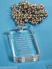 ORACION DE LA SERENIDAD SERENITY CRYSTAL DOG TAG NECKLACE STAINLESS SPANISH - Samstagsandmore