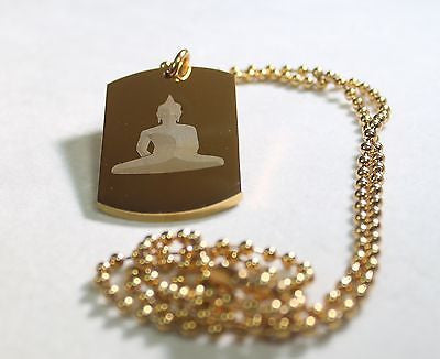 Buddha image thick stainless steel dog tag gold color IPG ball chain - Samstagsandmore