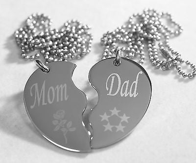 SPLIT HEART MOM DAD  DOG  TAG STAINLESS STEEL  NECKLACE PENDANTS