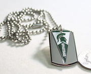 MICHIGAN STATE SPARTANS PENNANT STAINLESS STEEL DOG TAG NECKLACE  3D BALL CHAIN - Samstagsandmore