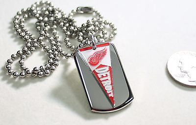 DETROIT RED WINGS NHL PENNANT STAINLESS STEEL DOG TAG NECKLACE  3D BALL CHAIN