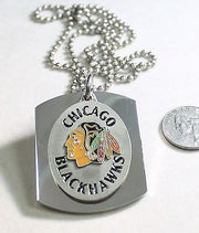Chicago Blackhawks NHL pendant X large dog tag stainless steel necklace logo - Samstagsandmore