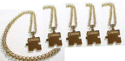 PUZZLE PIECE X6 IPG THICK GOLD PLATED SOLID STAINLESS STEEL ROLO CHAIN NECKLACE