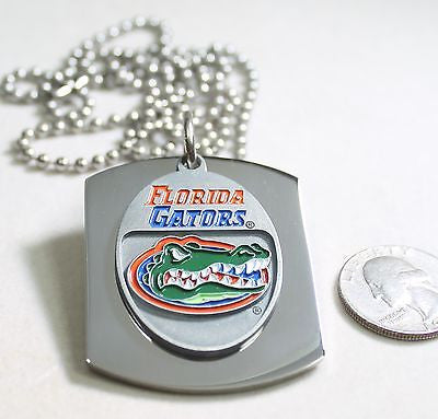 FLORIDA GATORS  X LARGE  DOG TAG STAINLESS STEEL NECKLACE LOGO FREE ENGRAVE