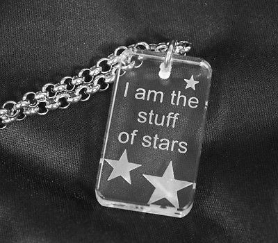 MOTIVATIONAL STAR SAND BLASTED THICK CRYSTAL DOG TAG & STAINLESS STEEL NECKLACE