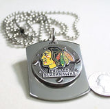 NHL CHICAGO BLACK HAWKS  X LARGE  DOG TAG STAINLESS STEEL NECKLACE LOGO - Samstagsandmore