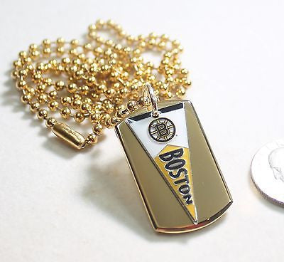 BOSTON BRUINS NHL IPG PENNANT STAINLESS STEEL DOG TAG NECKLACE  3D BALL CHAIN
