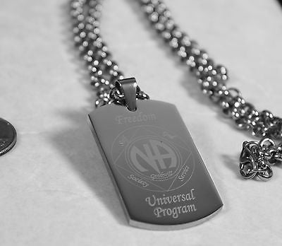 SOLID STAINLESS STEEL NARCOTICS ANONOMOUS SPECIAL RECOVERY PENDANT DOG TAG - Samstagsandmore