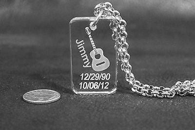 SAND BLASTED PERSONALIZE GUITAR CRYSTAL DOG TAG NECKLACE MEMORIAL GIFT - Samstagsandmore