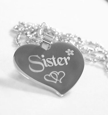 SISTER HEART STAINLESS STEEL PENDANT DOG TAG NECKLACE FREE ENGRAVING
