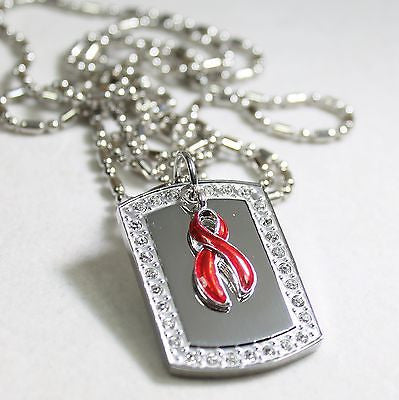 HIV/AIDS HEART DISEASE RIBBON BLING ICED OUT NECKLACE PENDANT CZ STAINLESS  TAG