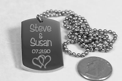 SOLID THICK STAINLESS STEEL SHINE LOVE INTERTWINED HEARTS DOG TAG NECKLACE