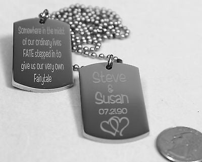 SOLID STAINLESS STEEL LOVE MOTIVATIONAL MILITARY STYLE 2 THICK DOG TAGS NECKLACE - Samstagsandmore
