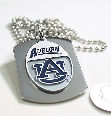 Auburn University X large dog tag stainless steel necklace logo free engrave - Samstagsandmore