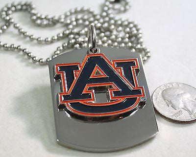 AUBURN UNIVERSITY LOGO   X LARGE  DOG TAG STAINLESS STEEL NECKLACE LOGO